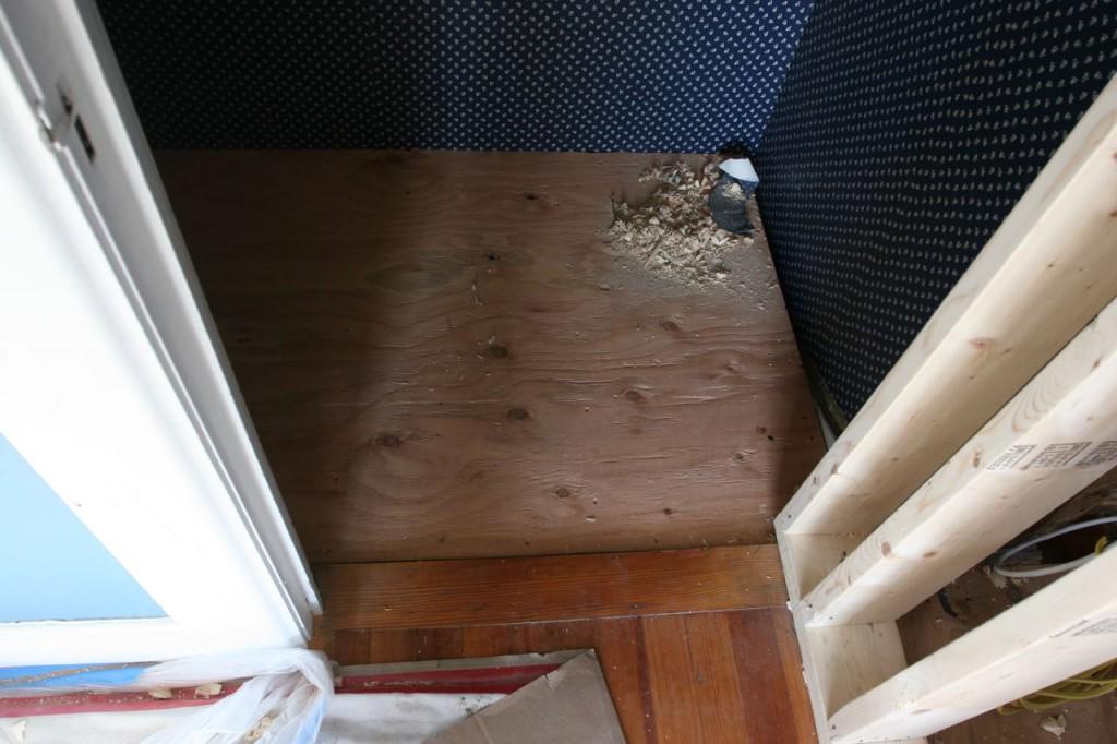 Floor! Closet floor! Good-bye, maid's quarters, hello west bedroom!