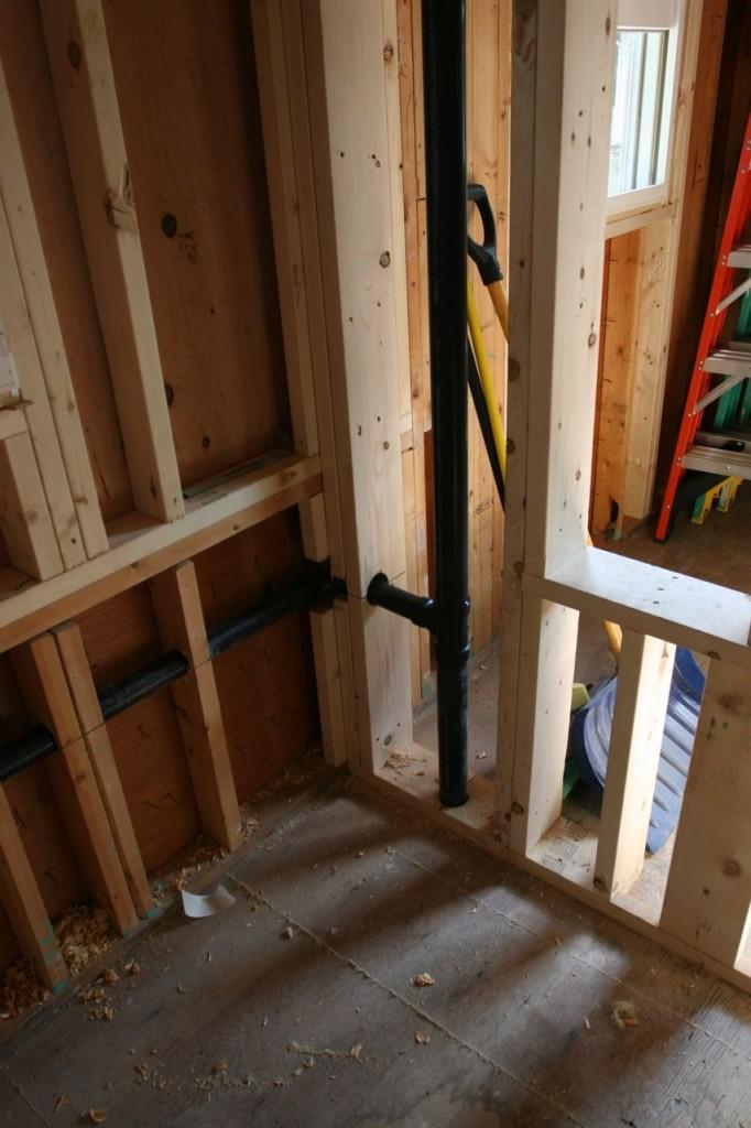 Plumbing for powder room.