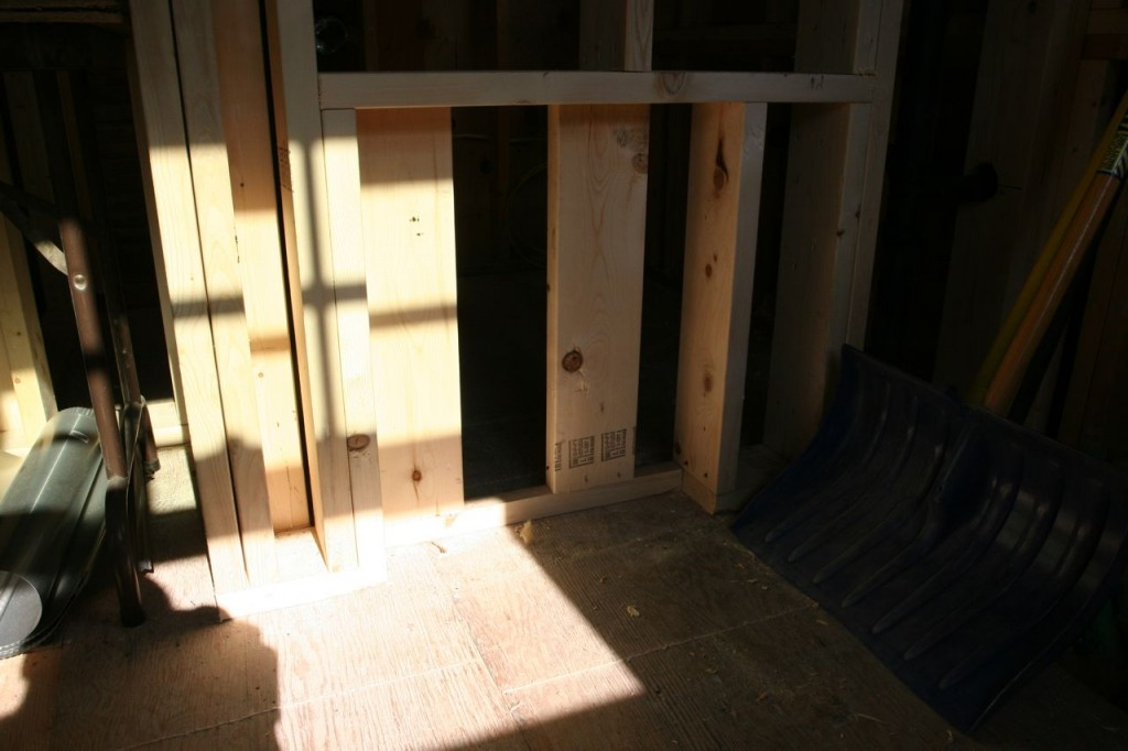 This little nook will house a small radiator, reclaimed from the original kitchen.