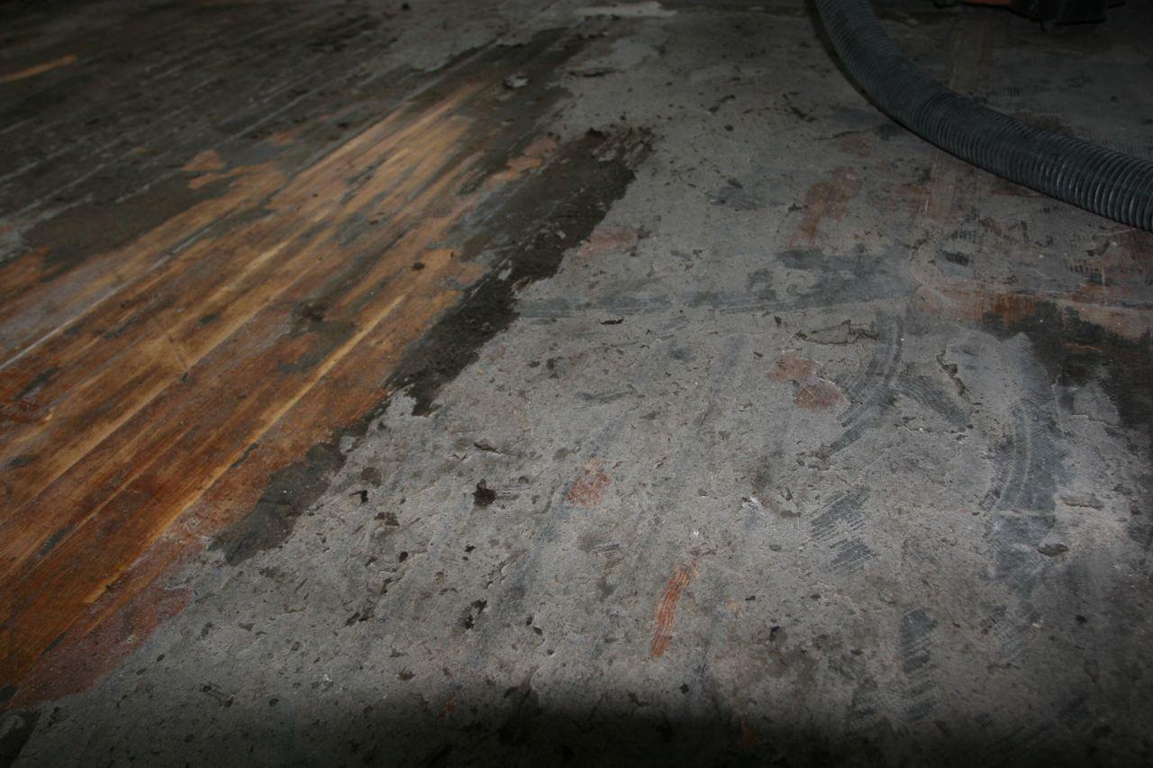The floors: half scraped, half muck.