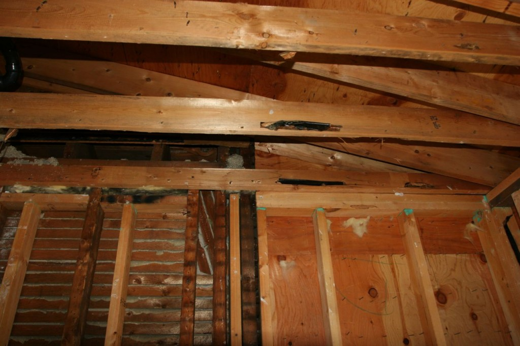 You can see that the ceiling was brought back to tie into the upstairs outer wall. I wonder what it looked like in 1920 when they were done with it.