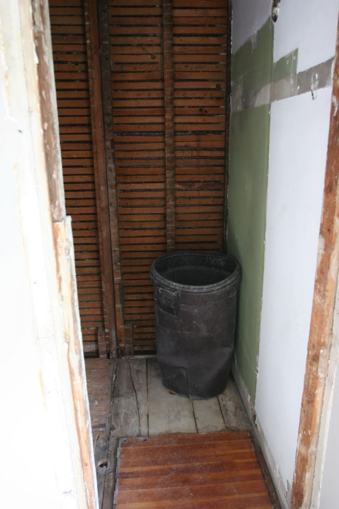 That trash can gives you an idea of just how tiny that shower was.