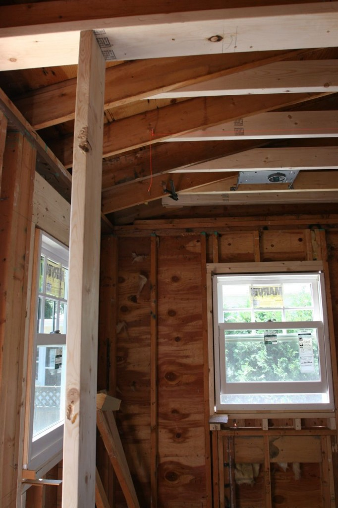 """We ended up with only about 2' 6"""" of ceiling that will pitch down to the 8' height. Barely even an issue! Woo hoo!"""