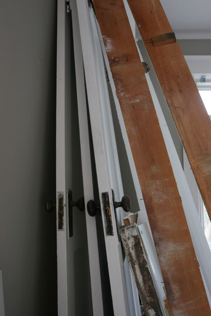 We're saving as much of the old door, trim, jams as possible. Waste not, want not.