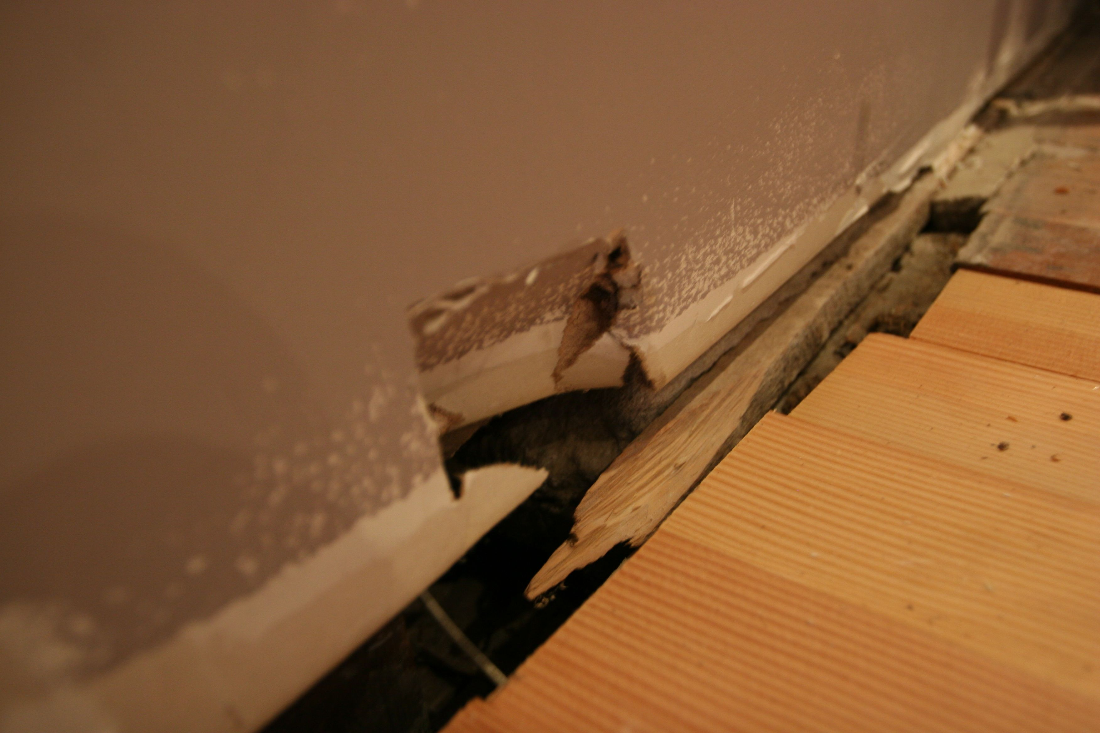 Oops! Good thing this will be behind cabinets, and doesn't need to be repaired in any significant manner.
