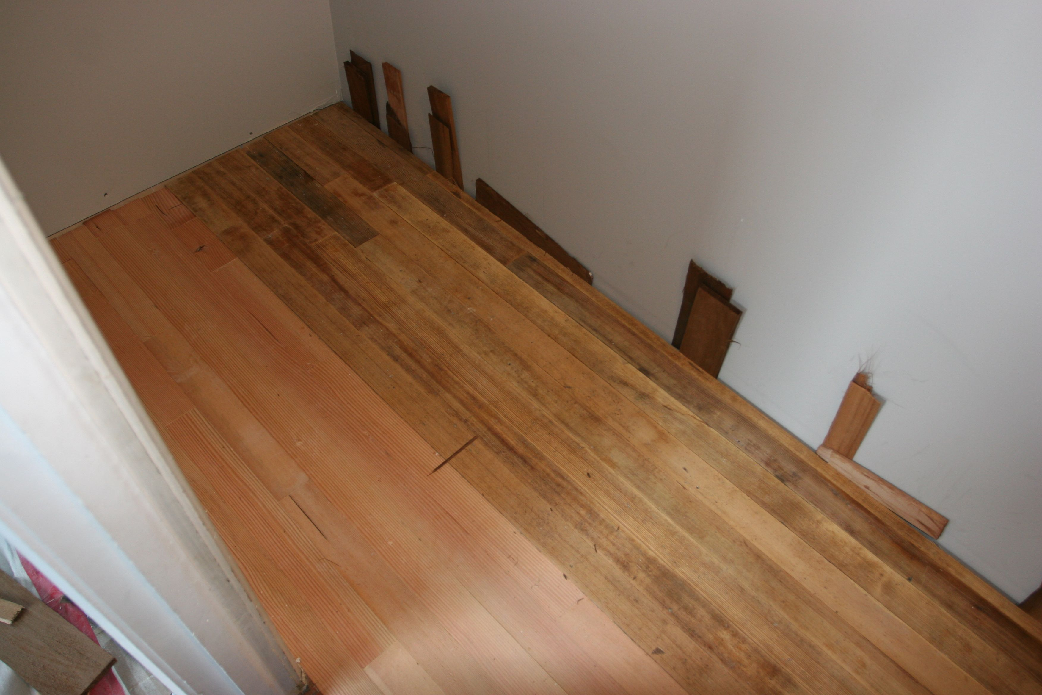 Closet floor - half old, half new. Will be interesting to see how it looks finished.