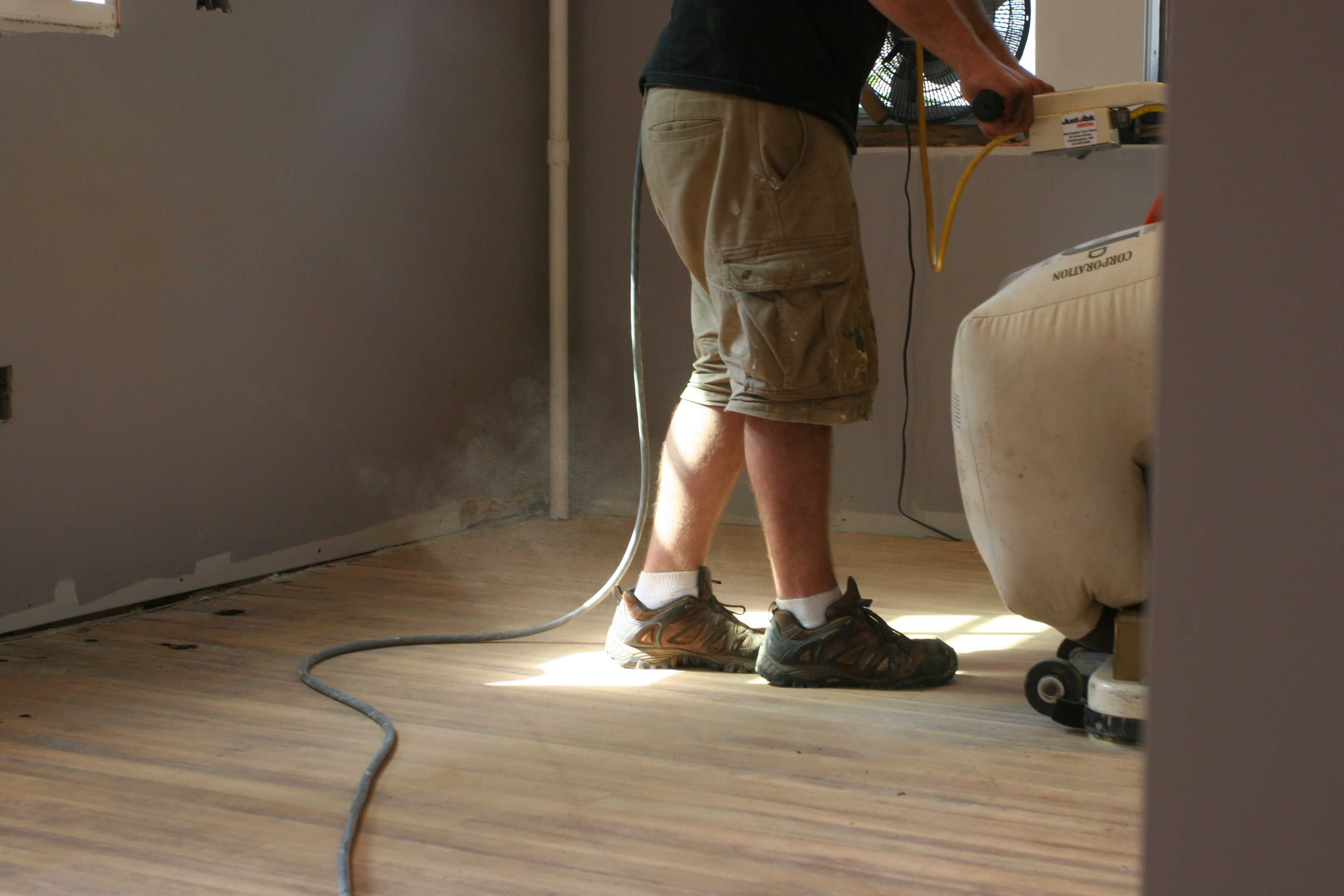 You can only see a fraction of the sawdust that was swirling around the room.