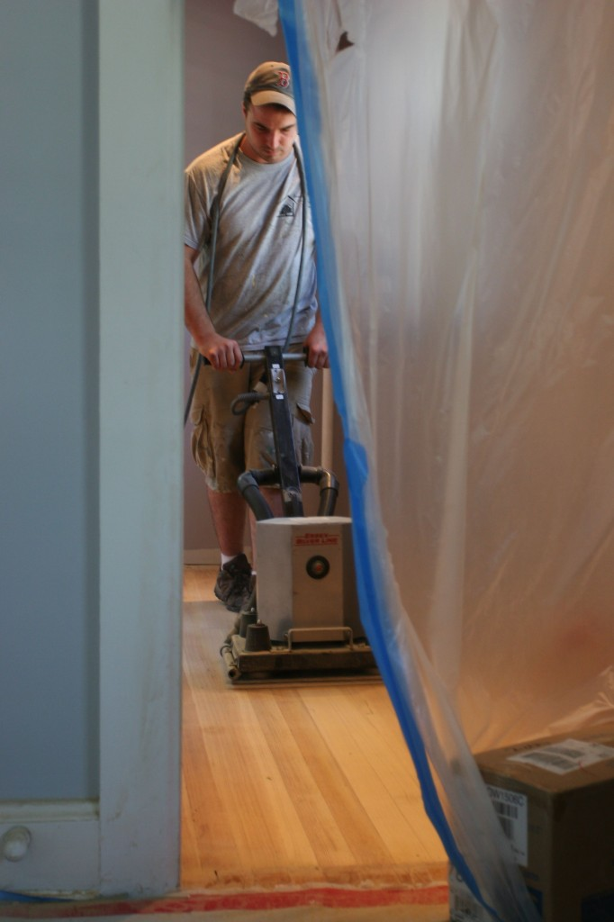Rocking the other large sander brought in for a more aggressive approach.