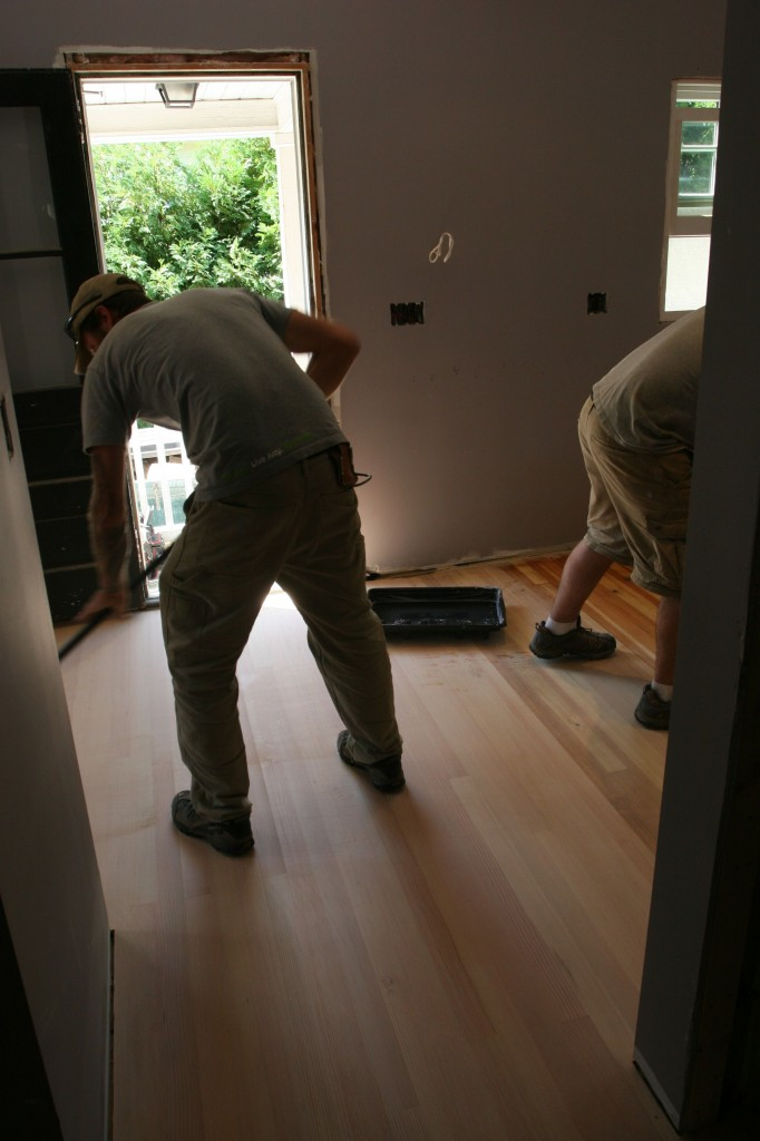 Eric sweeps while Dave mops. Too bad this won't be a weekly feature from them after the kitchen is done.