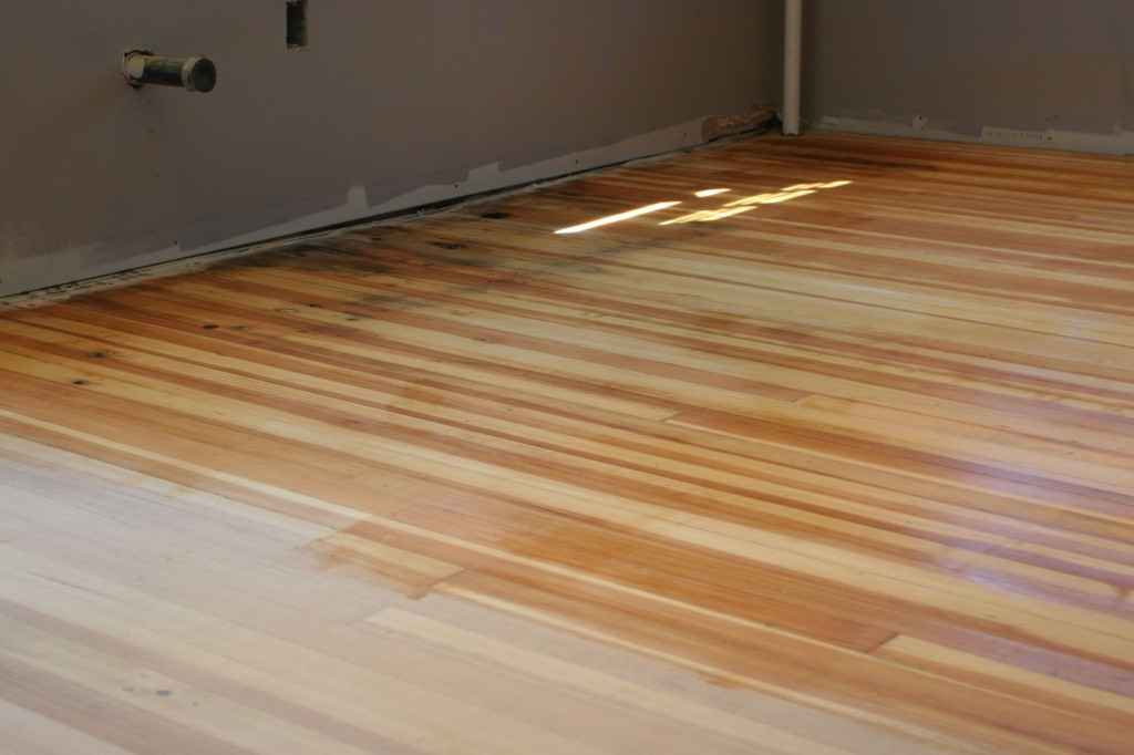 Older floor was denser than the younger floor, so it needed some special preparation to make the stain take evenly.