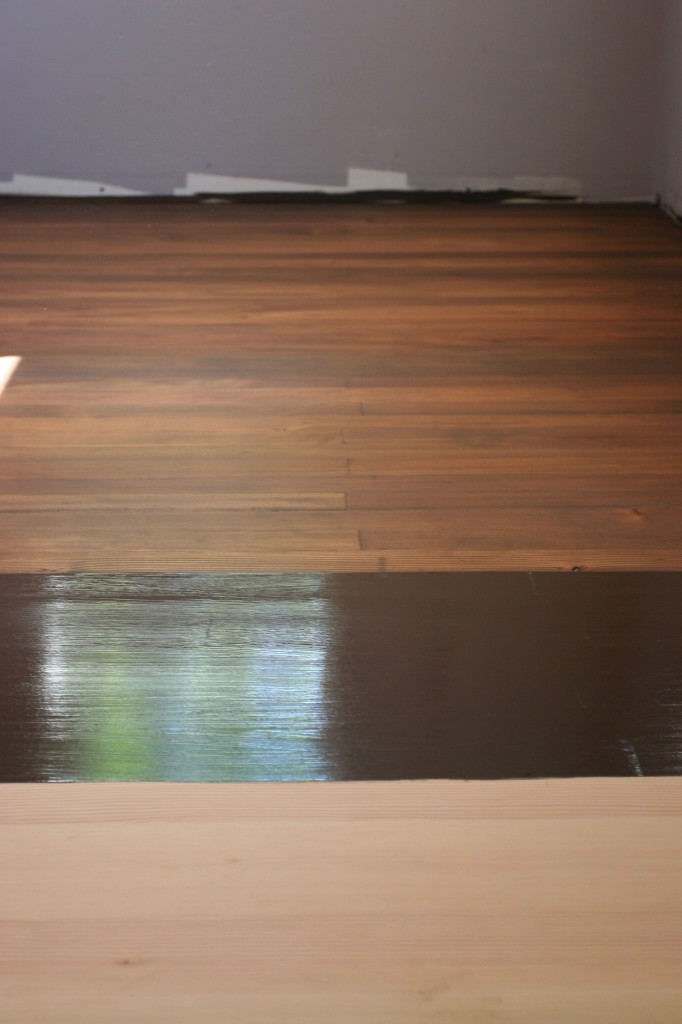 Floor stain, in stages.