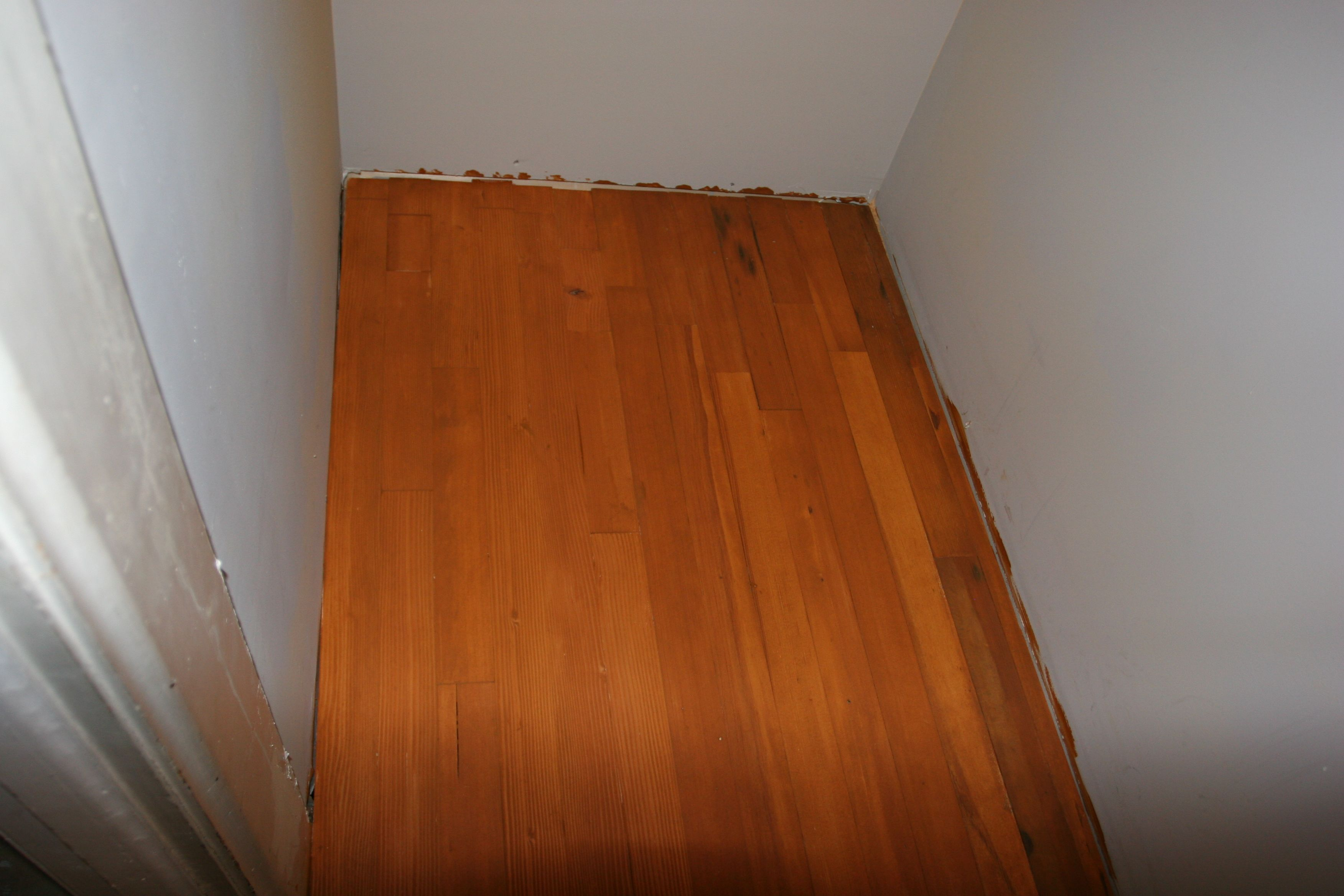 Closet floor - the upstairs is aged, antique quarter sawn fir, just like the original kitchen. These are leftover boards from the downstairs project.