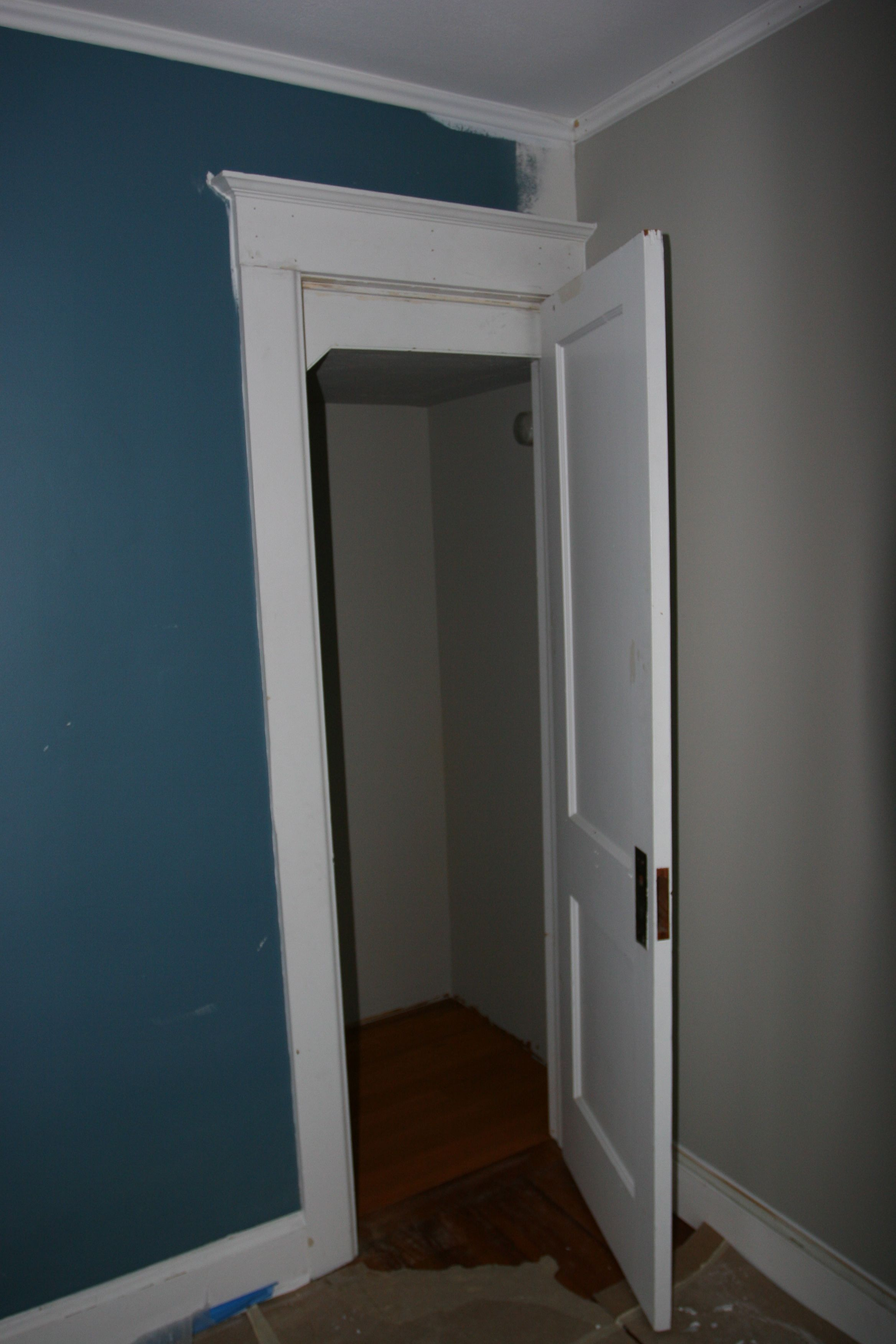 """Door! The previous door was bigger. Now we have a cute, petite 24"""" door for a generous closet. LOVE!"""