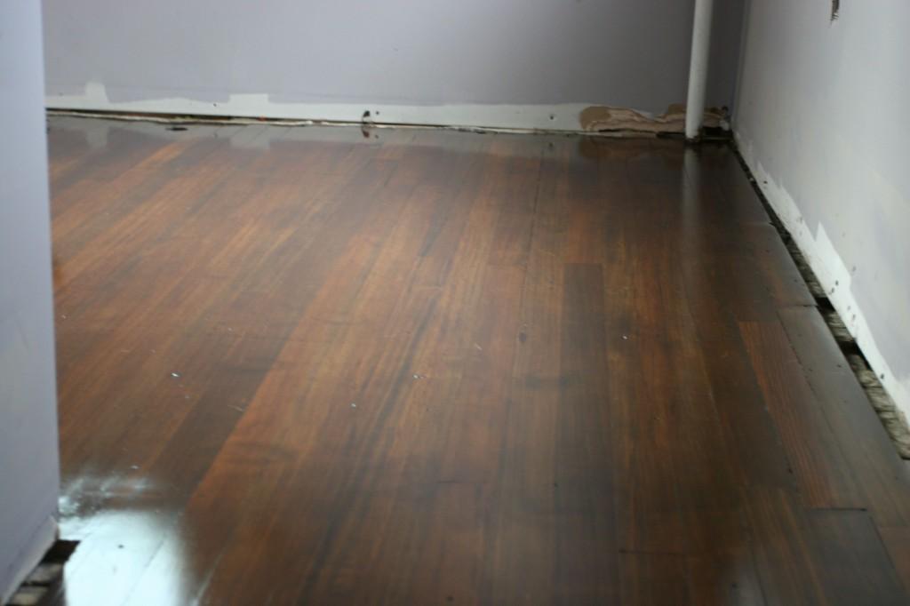 Peeking at the floor progress. Looking good!