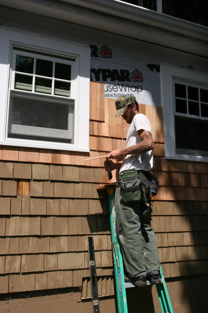 Eric had to hand shape almost every shingle to make it fit. Such care, it touches my heart.