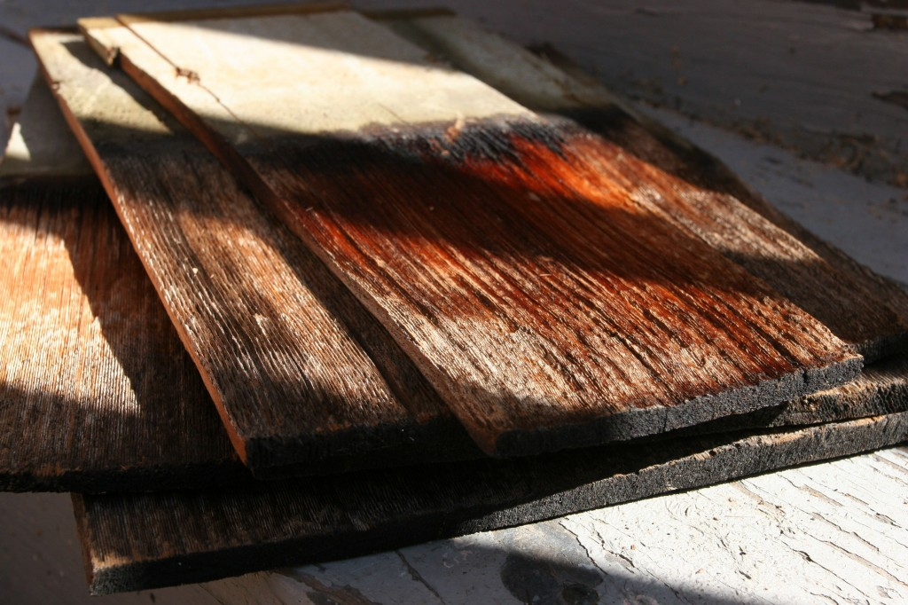 Old shingles in a lovely pile.