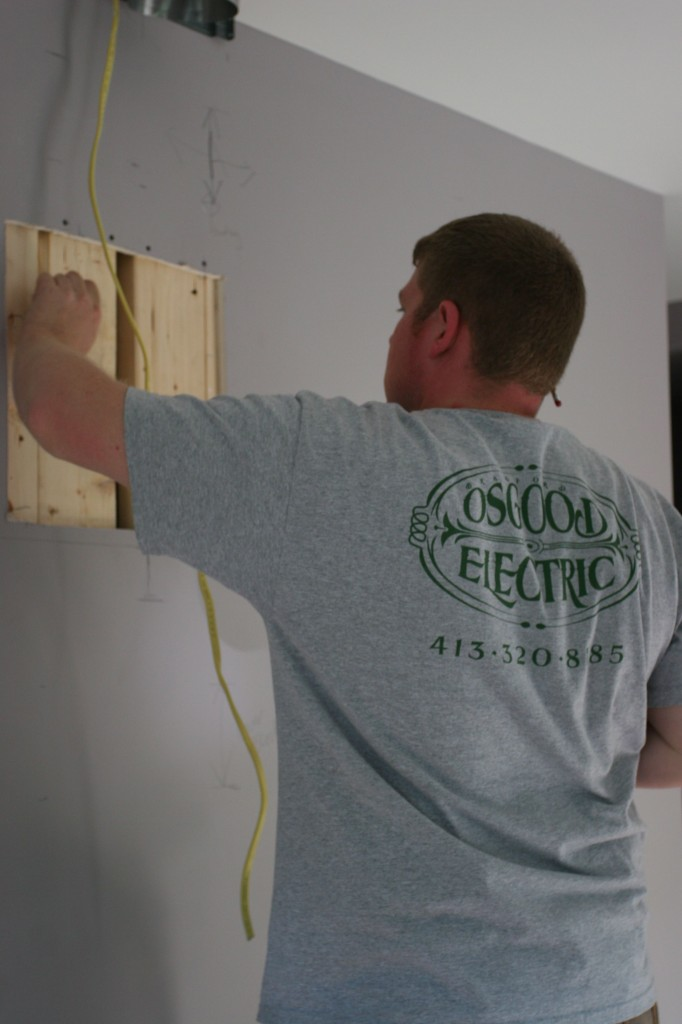 The kit supplied drywall anchors - Brad and the guys thought it better to install proper support. Damn straight, fellas.