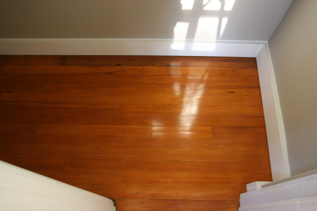 And, Dave managed to sneak a coat of poly onto the upstairs closet floor. Sneaky, industrious devil.