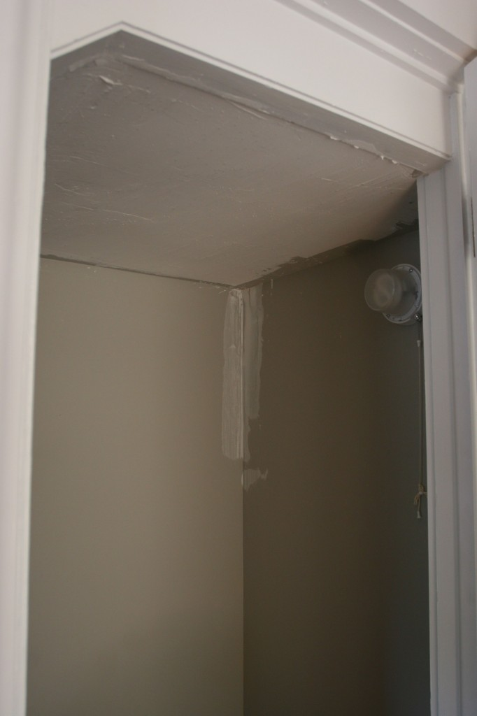 A bit of joint compound to even out the closet ceiling texture, and bits here and there.