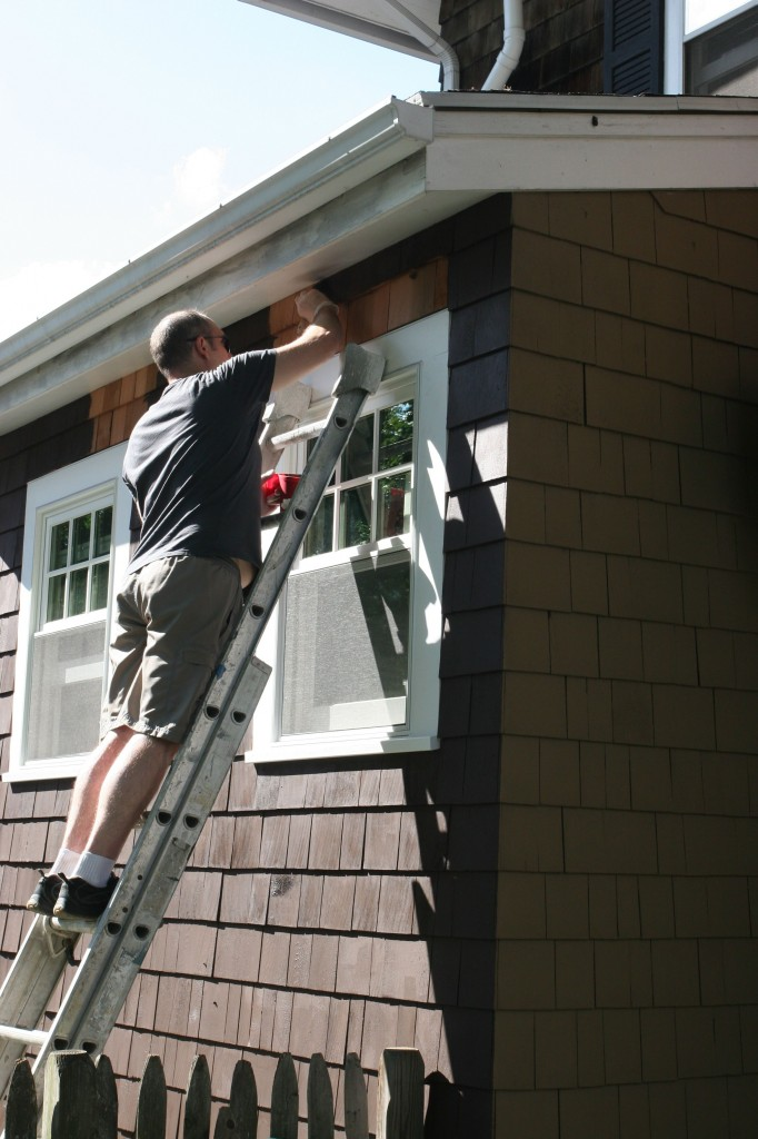 I couldn't reach some of the super high shingles, so mainly Jeff did those. It was a tiny bit scary up on that ladder.