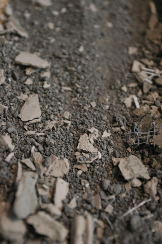 Durock debris. Looks like moon rocks.