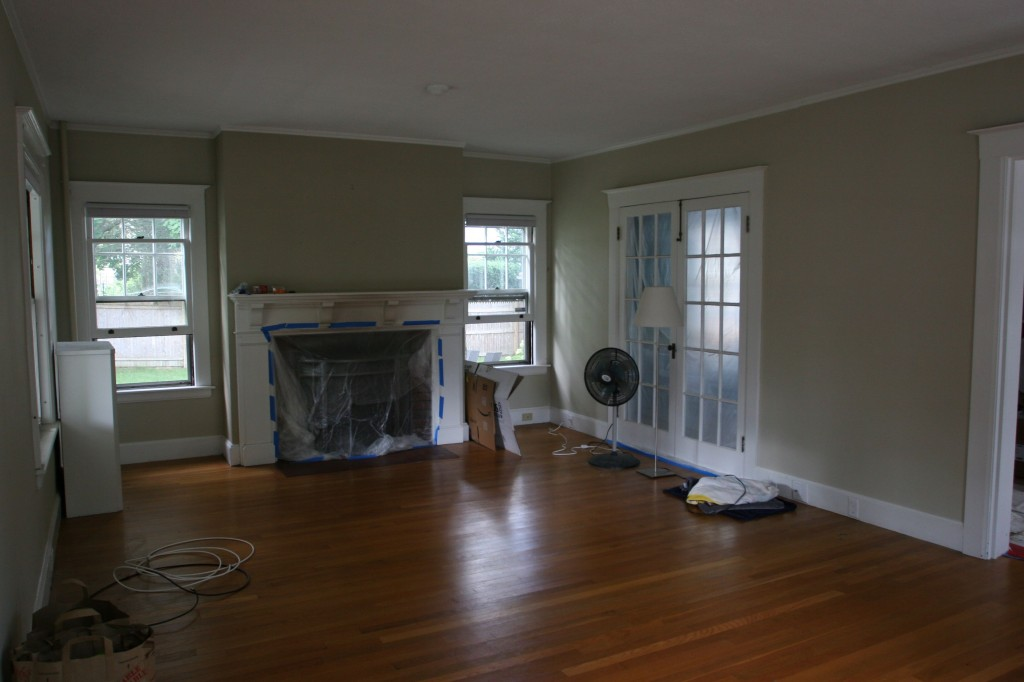 This is what the living room looked like when today began. Sparse, empty-ish, and orange.
