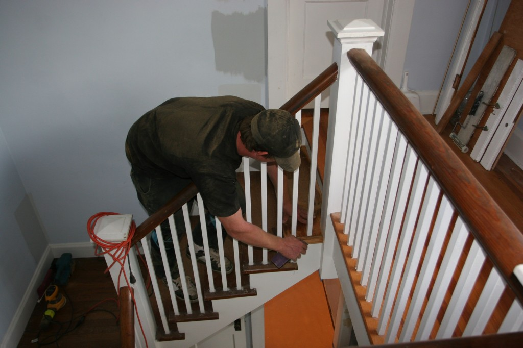 Frank up to no good on the stairs. Actually, he was up to all good. He edged/hand-sanded his little heart out today.