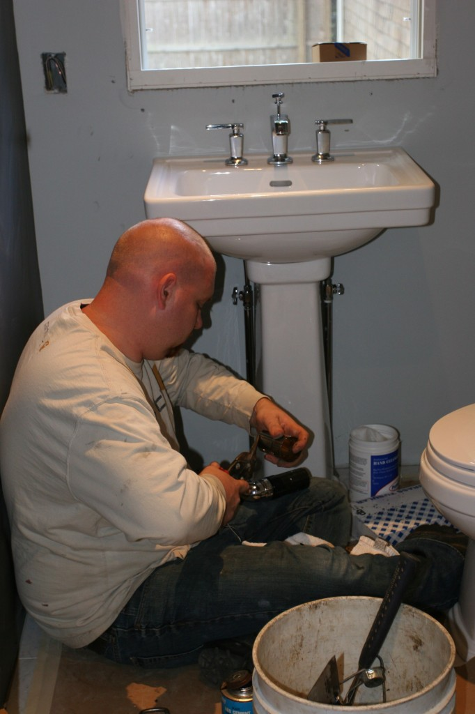 Matt, of Team Plumbing, working quietly by himself. I think he likes it that way.
