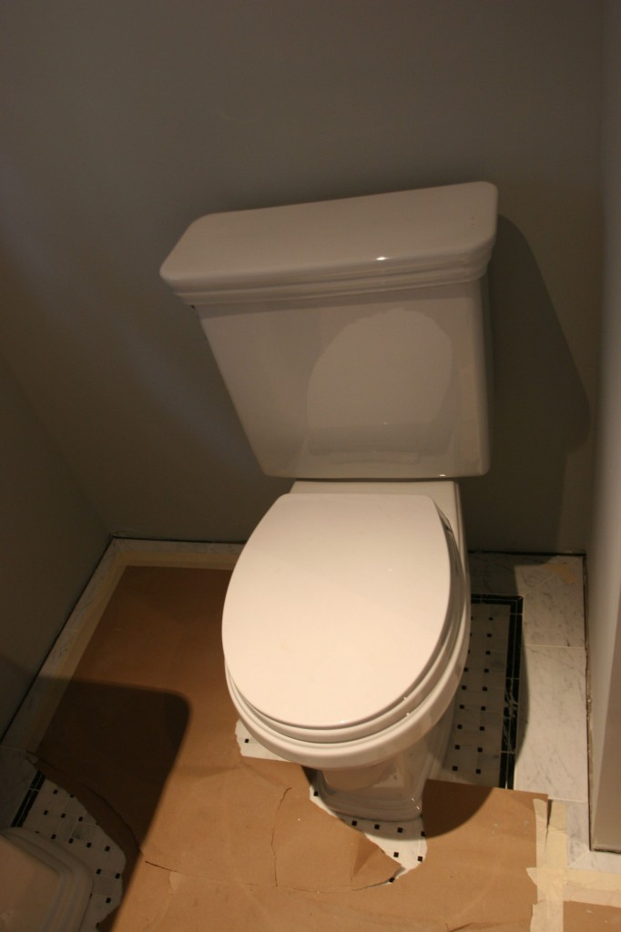 Powder room toilet! And it works, too! (Nice work, Matt!)