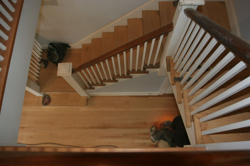 Amazing to think that the stairs had finish on them this morning. Not anymore.