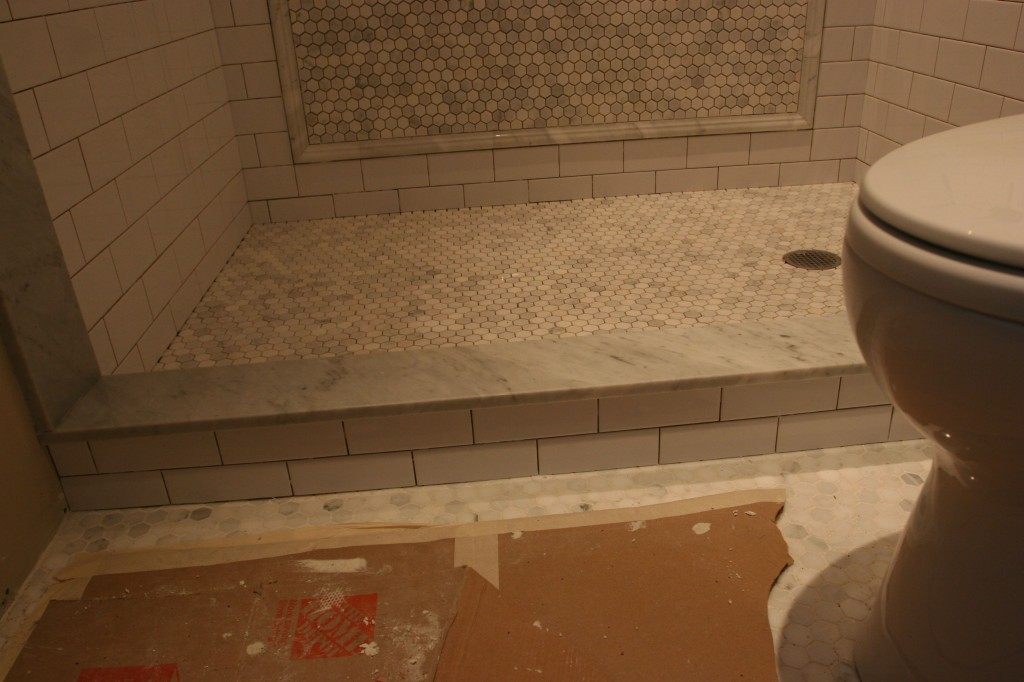 The skirt and curb are done. Grout is tomorrow. Still need shower drain. Grr.