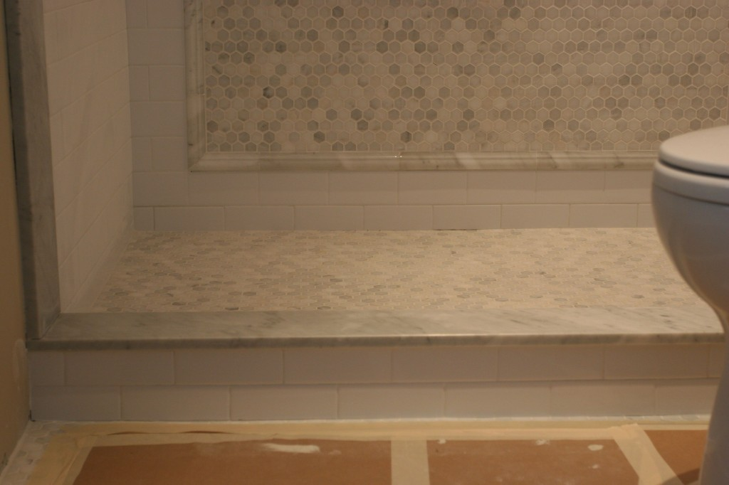 The skirt is the lowest row of tile in the shower; the curb is the part where the threshold is.
