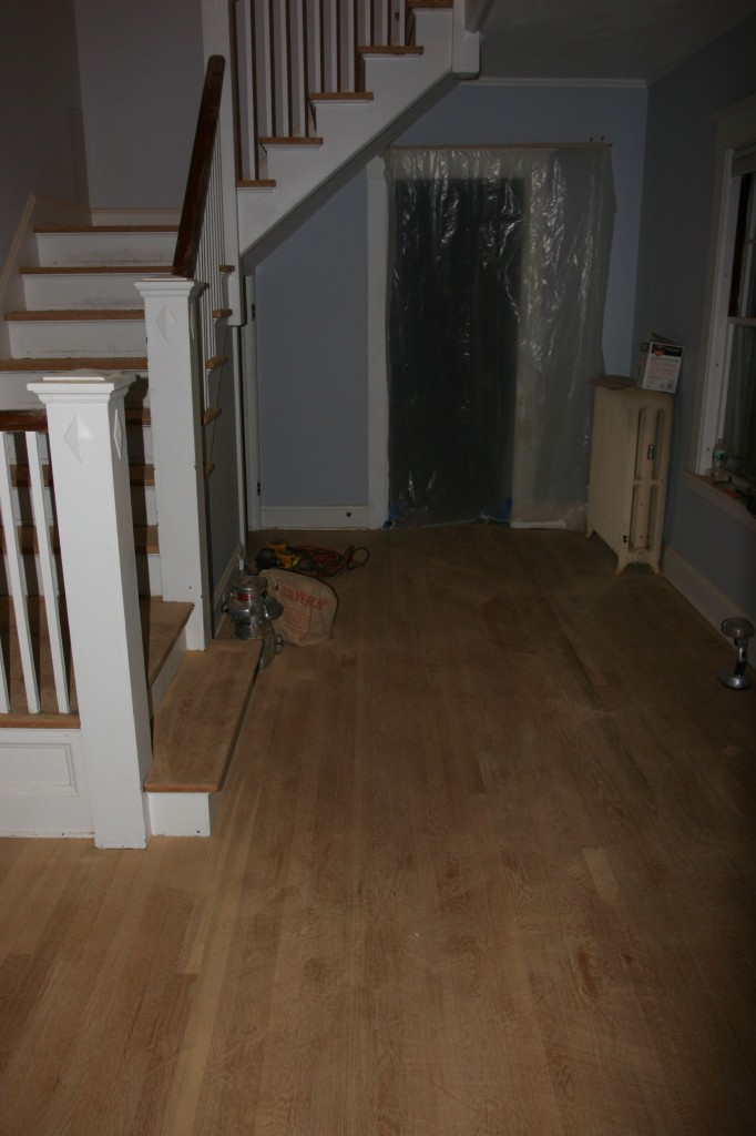 The remains of the day - each stair was scraped, and readied for a stain coat tomorrow.