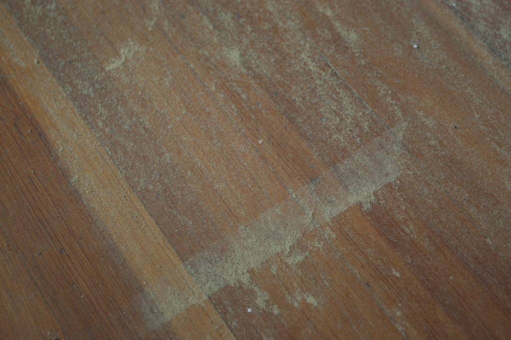 This was what the floors looked like in the one room where we put everything we DIDN'T want to get dusty. Stupid dust particles and their ability to get everywhere.