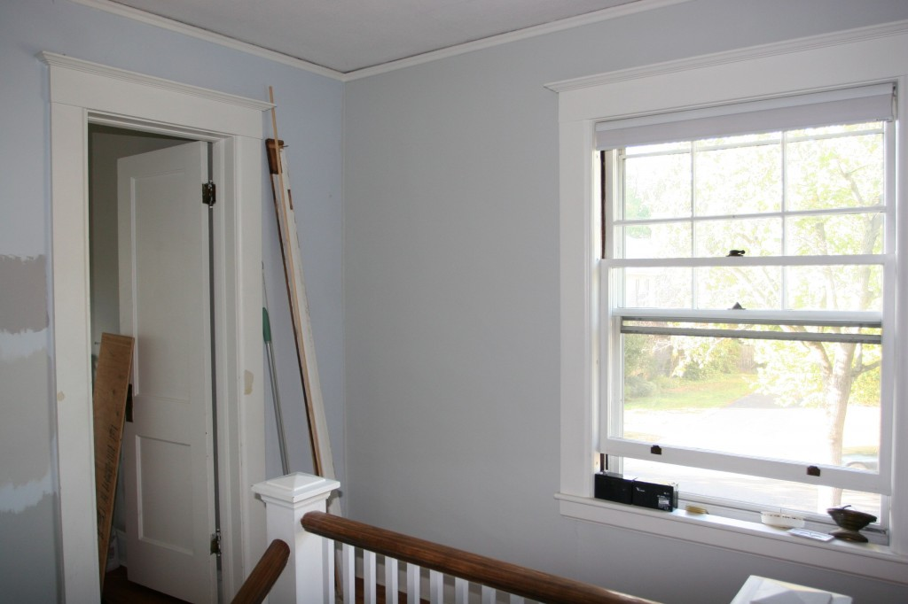 The new color is the grey (Benjamin Moore: Cliffside Grey). The old color is the blue. We're making progress!