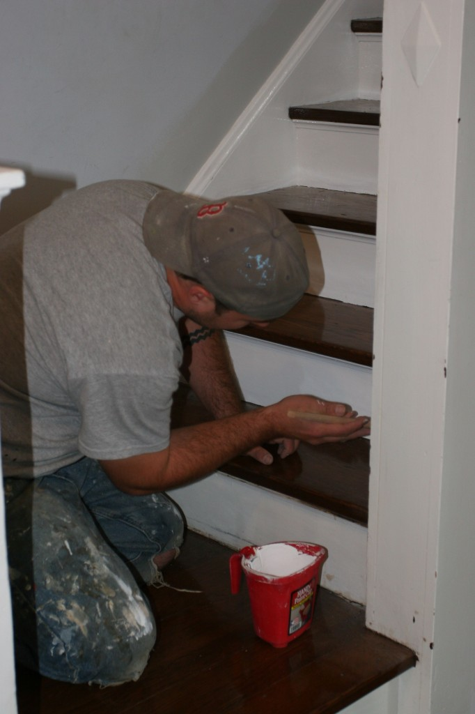 Dave finishing the first coat on the risers.
