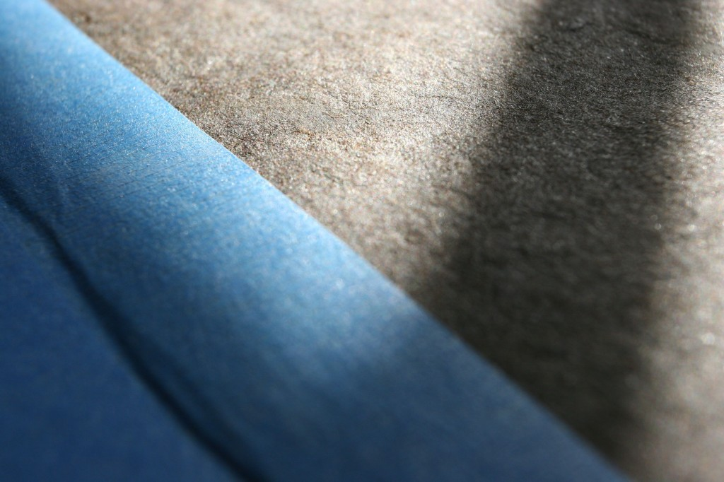 Beauty shot: blue tape and roofing paper. Now THERE'S a project runway challenge for you!