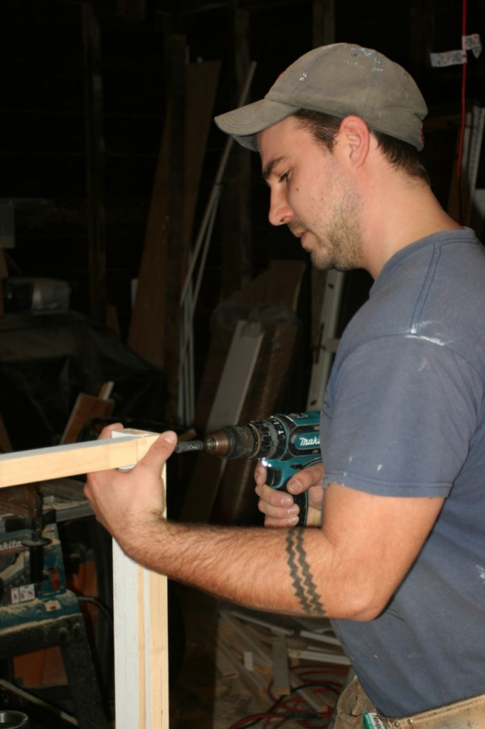 Dave making the frame for the radiator cover.