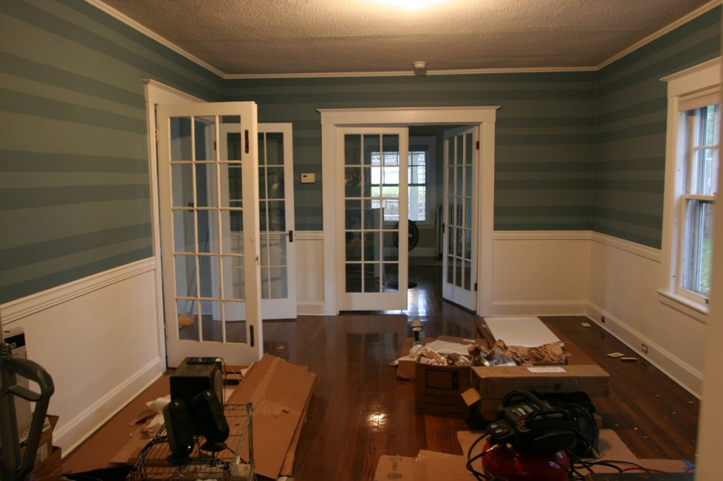 French doors re-hung. Still need to be painted, though. Will get to it as soon as this horrible cold/flu leaves me.