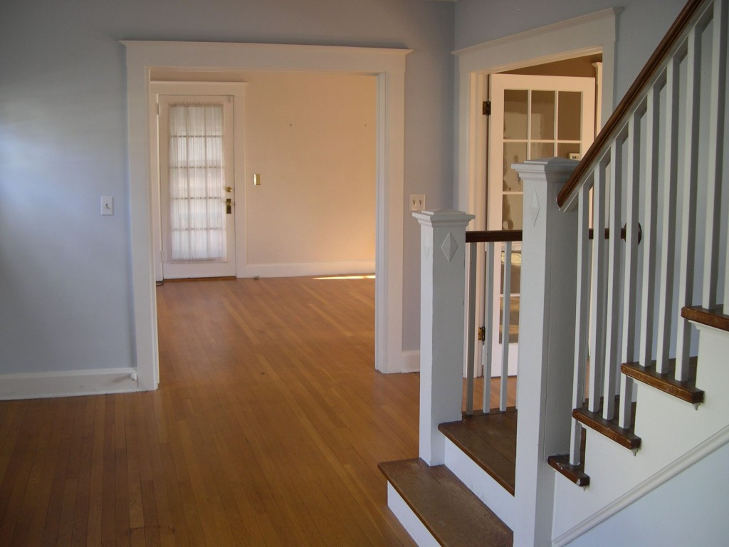 Another view of the foyer/front hall, before.
