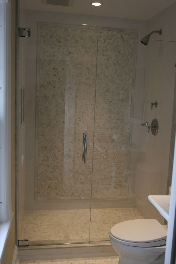 Shower doors! After, of course, after.