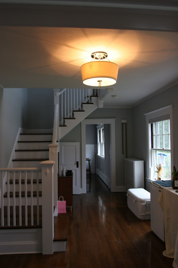 Our new front hall light. Trim paint, floors, wall color, door paint, electric. It's pretty much brand new again.