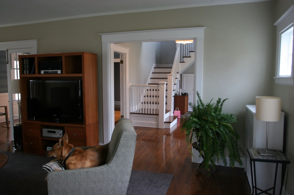 View from the living room to the front hall.