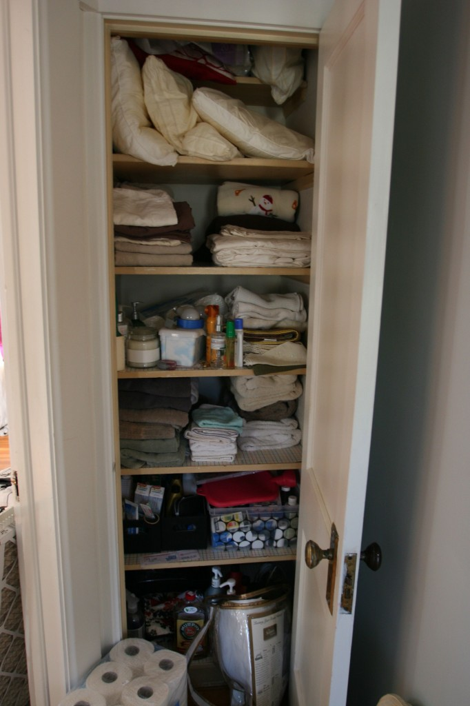 Our divine linen closet. Most of the closets haven't been sorted out after our summer of moving from room to room.