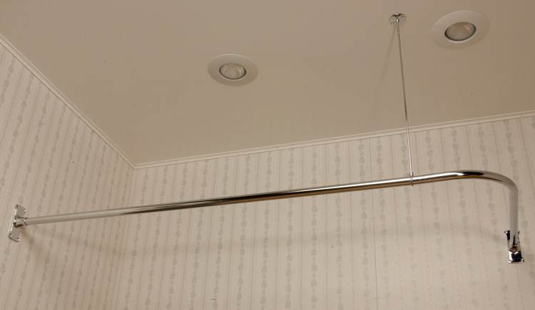 This is an image of the shower curtain rod that we're thinking of using since we're removing that tall wall at the end of the tub. We will NOT be using that wallpaper! Gross!