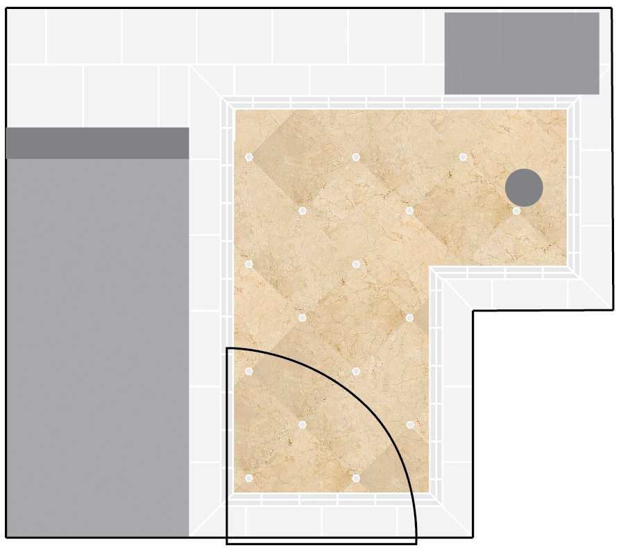 This is Jeff's mock-up of our crema marfil marble choice with little carerra marble hexagon tiles (leftover from the master bath) as little accents.