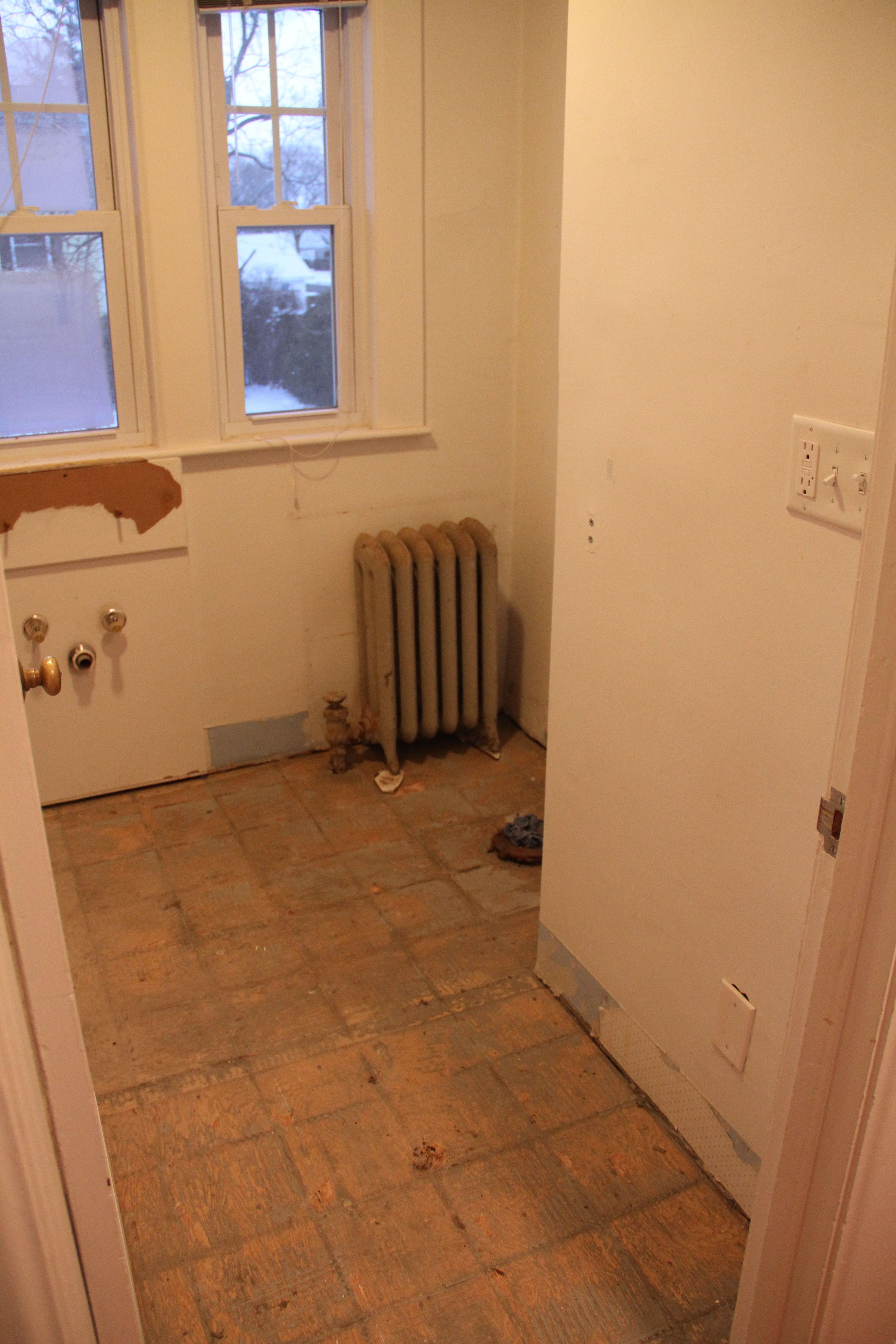 No sink. No toilet. No baseboard moldings. No floor tile. Love it.