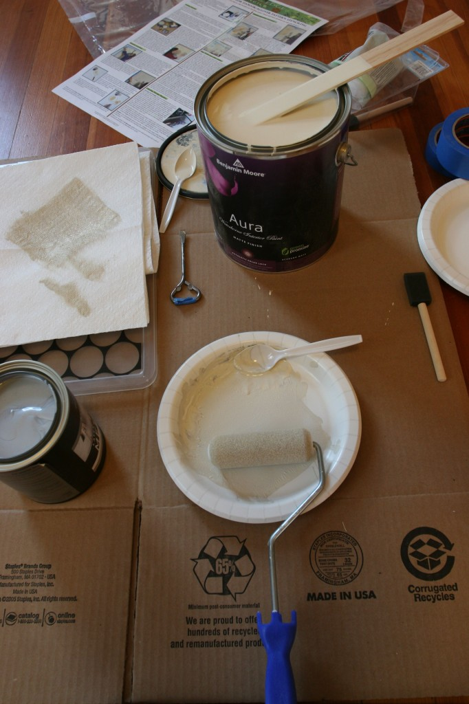My palette was a paper plate. The instructions provided by the stencil maker were so easy to follow. It totally worked.