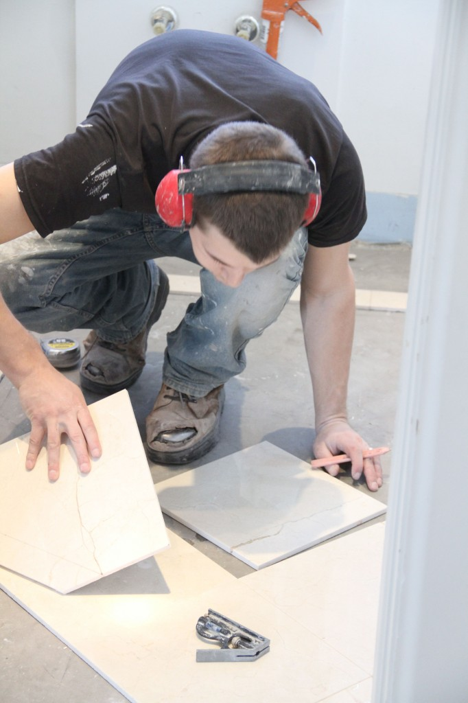 J.J. began by dry-fitting/cutting the entire floor - a painstaking process that required meticulous attention to detail.