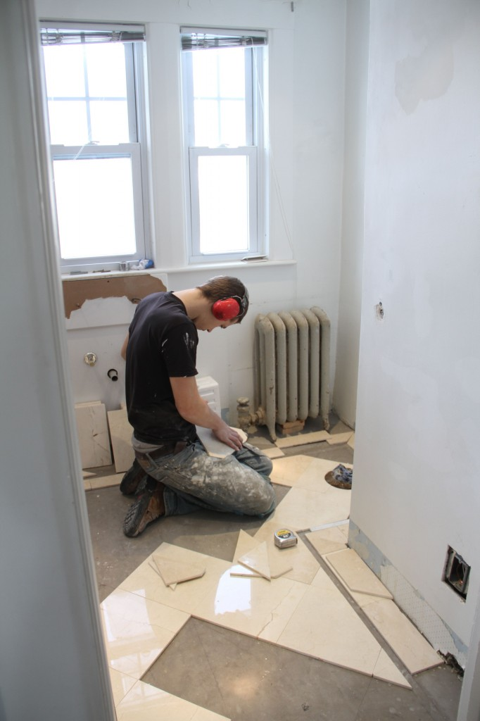 Every tile was measured, trimmed, measured again, trimmed if need be and placed carefully.